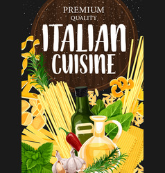 pasta with seasonings and olive oil vector image