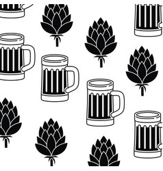 Pattern glass with beer isolated icon vector