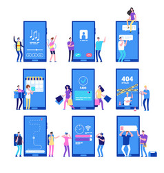 phone app and people small flat characters vector image