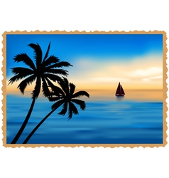 Postcard depicting the beach palm trees and sea vector