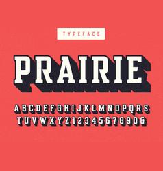 Prairie condensed retro typeface uppercase vector