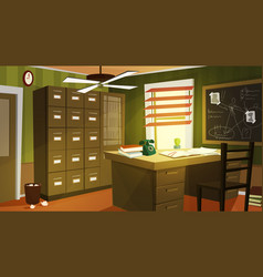 private detective office interior cartoon vector image
