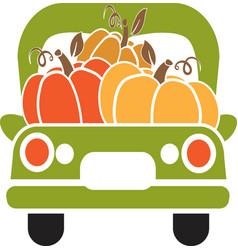 Pumpkin truck green truck with autumn vector