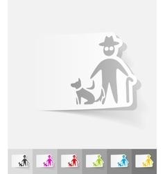 realistic design element old man and dog vector image