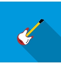 Red electric guitar icon flat style vector image