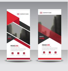 Red triangle business roll up banner flat vector