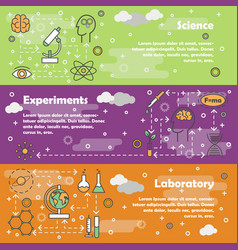 Science concept flat line art banner set vector