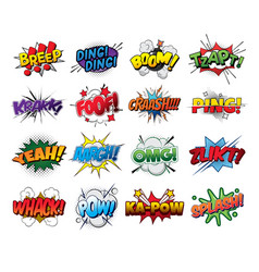 Set comic sound effects pop art style vector