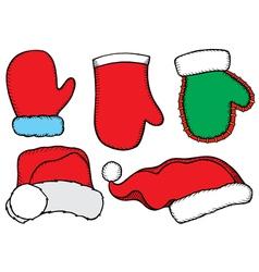 Set doodle Christmas hats vector