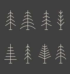 Set of abstract minimalistic christmas trees vector