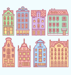 set of europe house or apartments cute vector image
