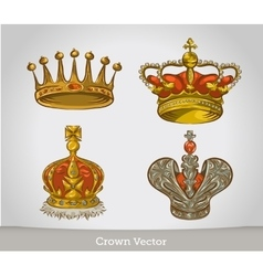 Set of gold crowns isolated on white background vector image