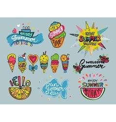set of summer labels Hand drawn doodle vector image