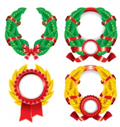 set wreaths and emblems vector image