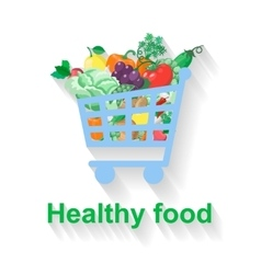 Shopping basket with healthy food vector