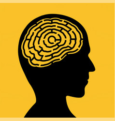 Silhouette human head with a maze vector