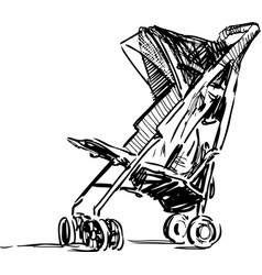 Sketch stroller for walking with baby vector