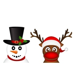 Snowman and Reindeer peeking sideways on a white vector