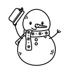 snowman waving hat celebration merry christmas vector image