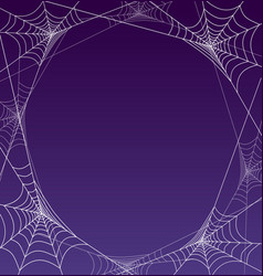 Spooky halloween spider web frame border vector