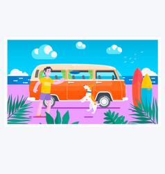 Summer timesurf van on the beachsummer holiday vector
