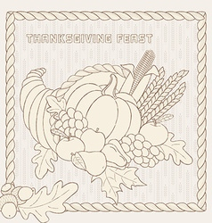 Template with hand drawn Thanksgiving elements vector