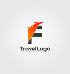 Travel agent logo design with initials f letter vector