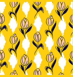 tulip flower seamless yellow ikat vector image