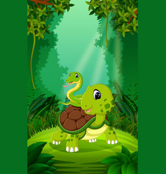 turtle and snake in the clear and green forest vector image