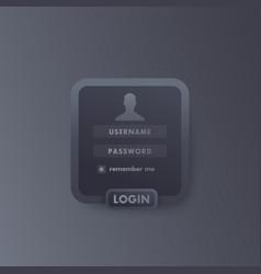 user login window template dark design vector image