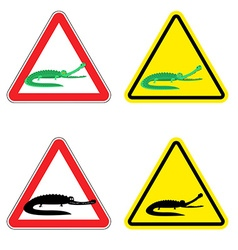 Warning sign of attention crocodile Dangers yellow vector