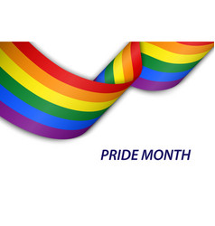 Waving ribbon or banner with flag of lgbt pride vector