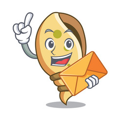 With envelope sea shell character cartoon vector