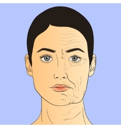 Woman face before and after aging vector