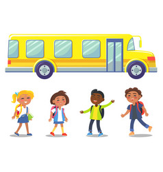 Yellow school bus and group children vector
