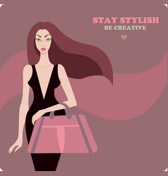 Young stylish beautiful woman wearing luxury vector
