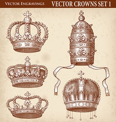 Crown set 01 vector image vector image