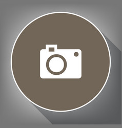 digital camera sign white icon on brown vector image vector image