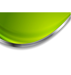 green blurred abstract background with silver wave vector image vector image