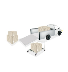Hand Truck Loading Shipping Box into Pickup Truck vector image