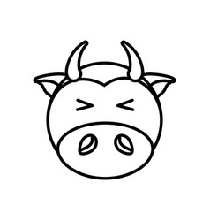 outline cow head animal vector image