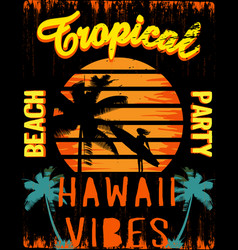 sunset at tropical beach hawaii vector image vector image
