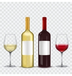 Two bottles and glasses of wine - red white vector image