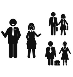 businessman and businesswoman pictogram vector image vector image