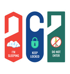 door hangers with informative signs and pictures vector image vector image