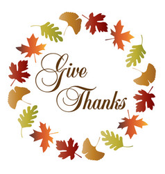 give thanks wreath with gradient leaf frame vector image vector image