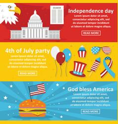 america holiday banner horizontal set flat style vector image vector image