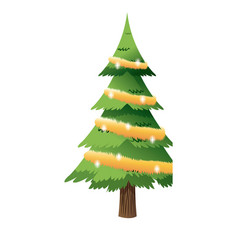 cartoon christmas tree lights and wreath vector image vector image