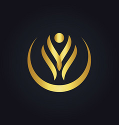 happy beauty abstract spa gold logo vector image vector image