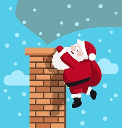 Santa in chimney vector image vector image